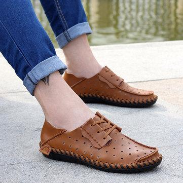 Hommes en cuir souple richelieus creux en respirant lacent chaussures de marche