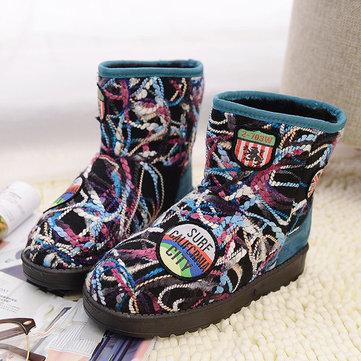 Laine colorée à tricoter doux faux fourrure doublure cheville bottes de neige