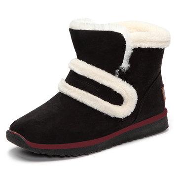 Chaude fourrure faux fourrure crochet & boucle bout rond bottes de neige cheville