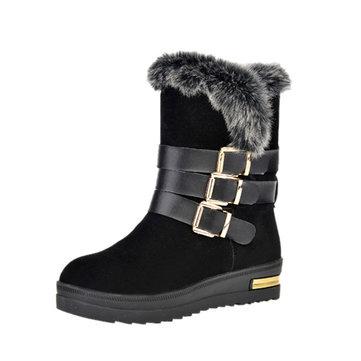 Femmes bottes d'hiver de coton en peluche de plein air décontracté garder au chaud chaussures confortables appartements