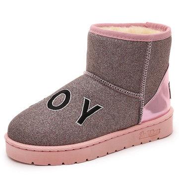 Slip casual sur doublure en coton chaud bout rond bling cheville court bottes