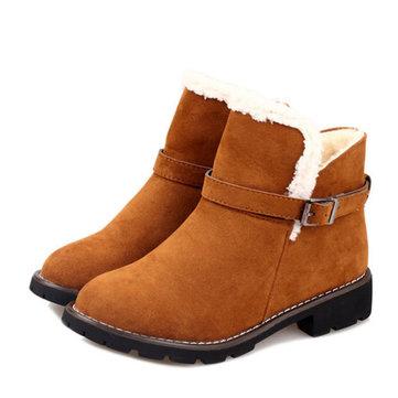 Bottes de neige fourrure doublure en daim femmes décontracté en plein air garder chaud chaussures