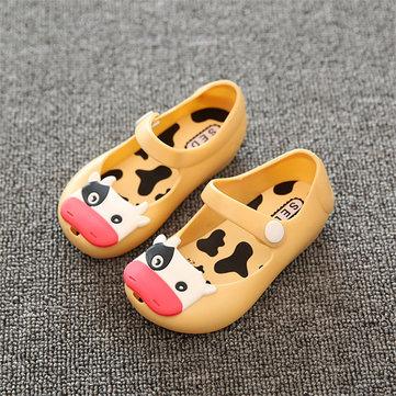 Bébé tout-petits enfants enfants mini-plage été bouche de poisson gelée sandales vache bétail caoutchouc pluie chaussures antidérapantes