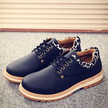 Hommes décontracté en plein air dentelle jusqu'à bout rond en cuir souple bas bas chaussures chaussures