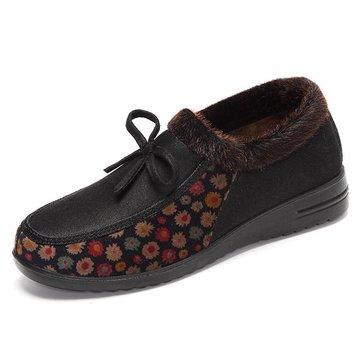 Chaussures hiver femmes de coton garder en peluche dérapant décontracté en plein air chaud sur des mocassins plats