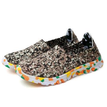 Taille nous 5-11 femmes chaussures de tricot fait main occasionnels chaussures confortables de pavillons de camouflage respirante