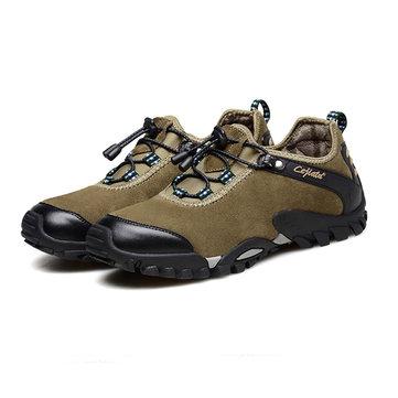 Taille us 6.5-11 hommes randonnée chaussures de sport cuir de vache fendu lacets baskets