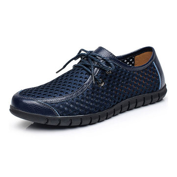 Hommes& Breathable& Engrener& Casual& Lace& Up Oxford