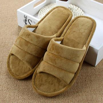 Unisexe peep toe coton laine maison chaude pantoufles pour les femmes et les hommes