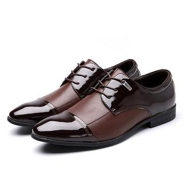 Grande dentelle taille chaussures up formelles business en cuir souple souligné chaussures à bout
