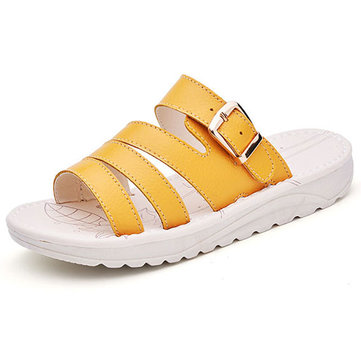 US& Taille& 5-10& Casual& Beach& Slipper Leather Banderines respirantes