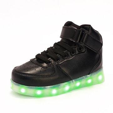 Automne hiver nouveaux garcons de mode filles LED lumière chaussures enfants charge USB baskets casual coloré