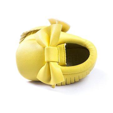 Bébé bowknot tassel pur couleur transpirable soft unique chaussures de marche