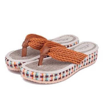 Les femmes flip flops été sandales compensées tricotés pantoufles plateforme de plage