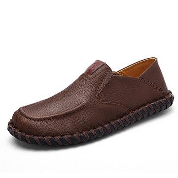 Hommes souple respirant chaussures plates décontracté en cuir en cuir sur oxfords