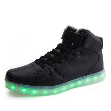 Usb unisexe LED lumière lacent chaussures hautes top sport lumineux quelques espadrilles