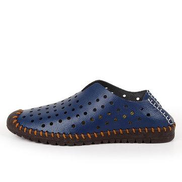 Men Hollow Out Oxfords Chaussures en cuir souple respirant
