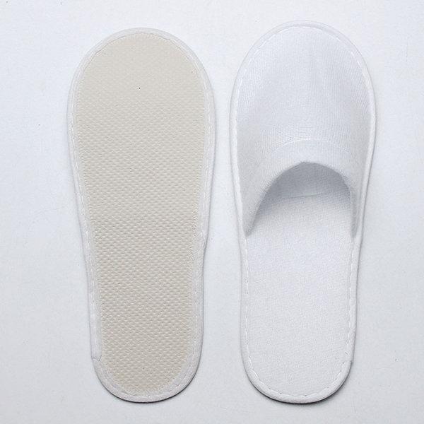 1 paire orteil fermé blanches jetables pantoufles hotel pantoufles de spa