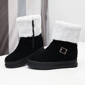 Bottesdechevilled'hiverdefemme Chaussures de fourrure de fermeture à glissière Gardez des bottes de neige chaudes