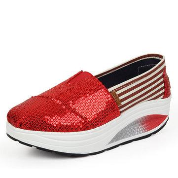 Paillette bling brillant plateforme feuillet sur les chaussures à semelle rocker stripe