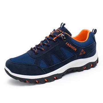 Hommes occasionnels chaussures de sport en plein air en cours d'exécution maille dentelle plat respirant des chaussures de sport