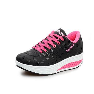 Espadrilles de femmes en cuir artificiel respirant chaussures de sport semelles épaisses chaussures plate-forme