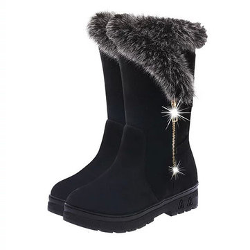 Les femmes hiver gardent bottes de neige chauds tirette chaussures à semelle ronde neige orteil bottes chaudes et douces