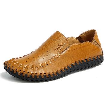 Men& Hand& Stitching& Slip& en& cuir véritable Oxfords Shoes