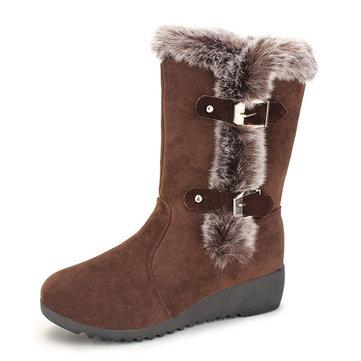 Nouvelles femmes bottes mi-mollet en peluche d'hiver mode maintien au chauds wedge bottes de neige