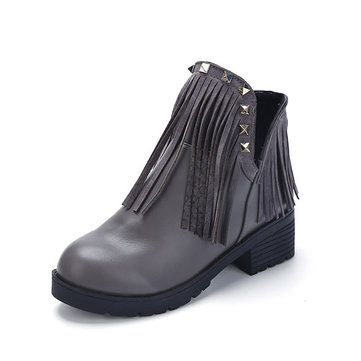 Bottes femme bout rond Tassel Flats Outdoor Bottes Casual court cheville