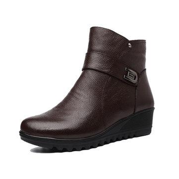 Grande taille femme hiver bottes chaudes tirette courte plate-forme de bottes de coton antidérapants
