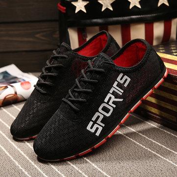 Hommes tissu maillot respirant sport plat running chaussures occasionnels