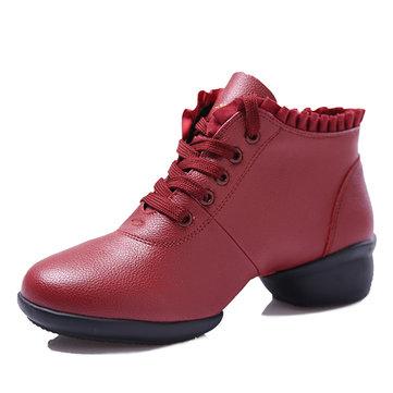 Lacer bout rond chaussures danse semelle souple en coin