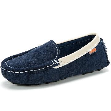 Enfants chaussures chaussures en cuir appartements pour enfants suède vachette bateau casual chaussures à enfiler des mocassins&
