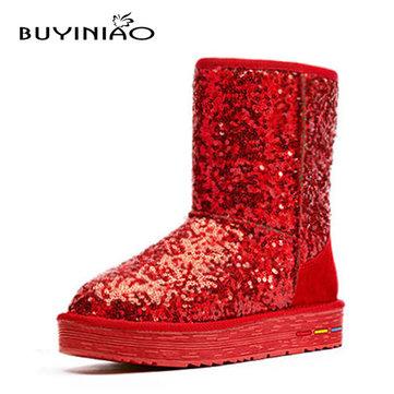 Buyiniao femmes coton d'hiver bottes de neige bottes de fond plat des bottes paillette d'hiver