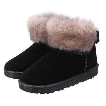 Femmes bottes de neige hiver en peluche chaude fourrure artificielle bottines chaussures bowknot occasionnels