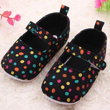 Bébé, filles, coloré, pois, crochet, boucle, premier, marche, chaussures