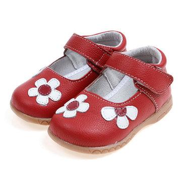 Mignonne fleur artificielle cuir crochet boucle filles chaussures habillées