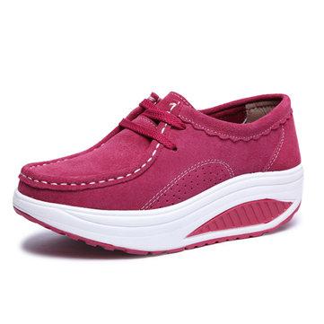 Femmes chaussures de sport d'athlétisme secouaient chaussures bout rond Chaussures à lacets de chaussures à semelle souple