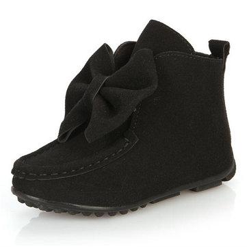 Filles bébé d'hiver pour enfants chaussures de danse ornement de Noel de Santa princesse cadeau appartements en cuir bowknot bottes courtes