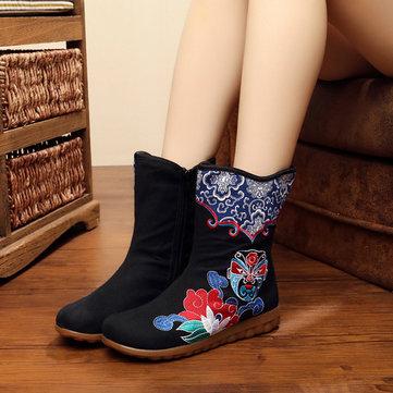 Taille us 5-10 femmes toile fleur nationale du vent bottes courtes bottes plates en plein air décontracté