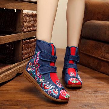 Broderie extérieur bottes plates florales bottes courtes taille us 5-10 femmes cheville occasionnels
