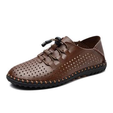 Les hommes en cuir souple richelieus respirant lacent chaussures de sport de plein air