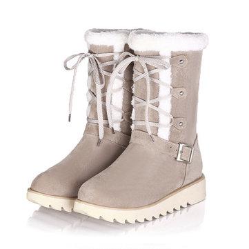 Tailledesétats-Unis5-12Flatsen coton Bottes de neige Chaussures à talons en dentelle