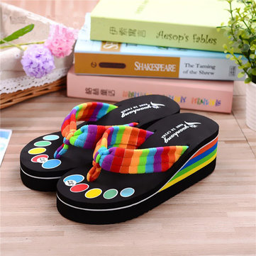 Femmes lacets colorés tongs plage pantoufles sandales plates-formes