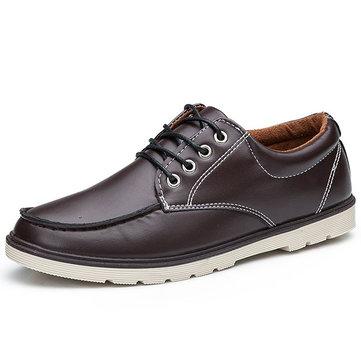 Casual chaussures hommes dentelle extérieure de la mode en cuir bout rond de oxfords plat