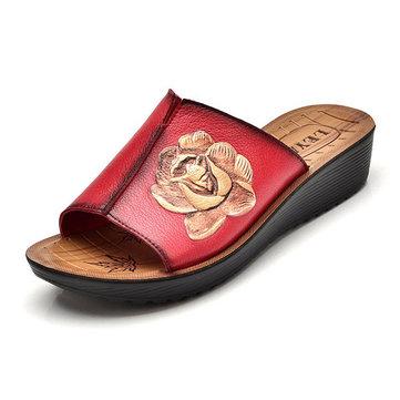 Sandales& à& talons& en& cuir& femme Pantoufles extérieures décontractées