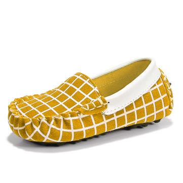 Enfants chaussures enfants givrées baskets bateau en cuir de chaussures en daim filles vachette garcons glissent sur les mocassins&