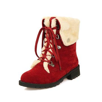 BottesdeneigeLesfemmesd'hiver maintiennent des chaussures plates à lacets