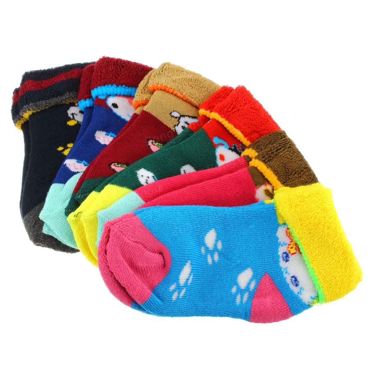 10 pais chaussettes en coton bébé enfant épaississent bas enfant pantoufle antidérapant hiver chaud